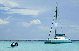 A catamaran at anchor