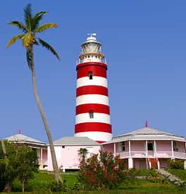 A lighthouse on Elbow Cay, in the Bahamas